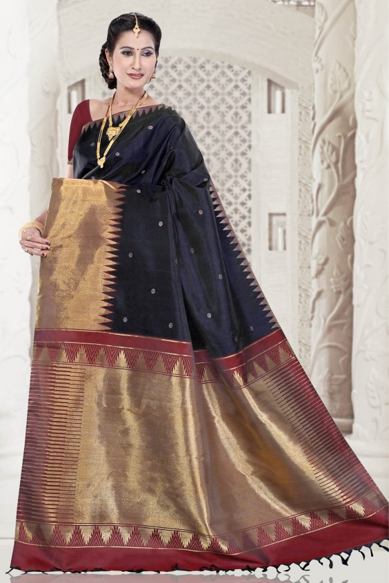 temple-border-black-kancheepuram-saree