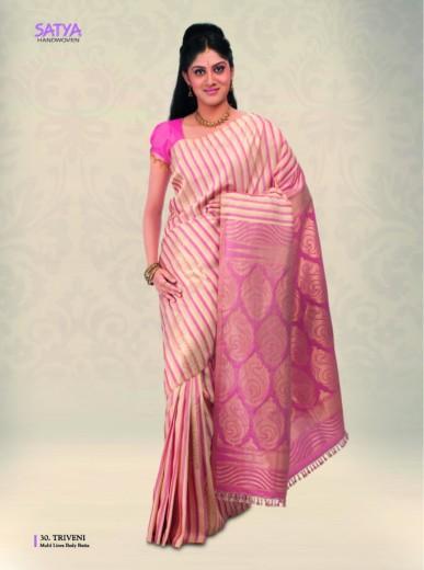 Off white and pink kancheepuram saree
