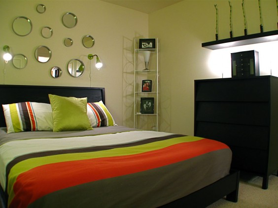 Bedroom with Mirrored Wall