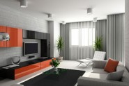 gray and black living room