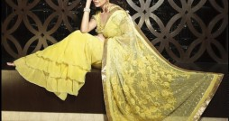 yellow colour designer saree