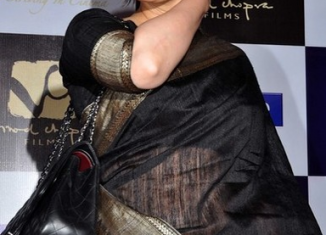 manisha koirala in parinda with black raw silk sari