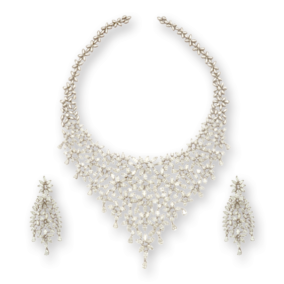 necklace set with faceted round diamonds