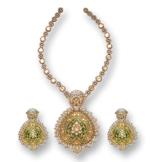 necklace set studded with kundans and green enamelled
