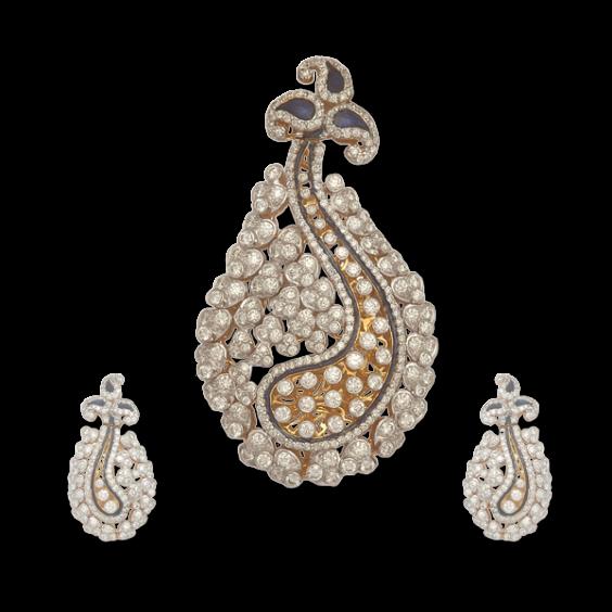pendant with round diamonds and blue enamel