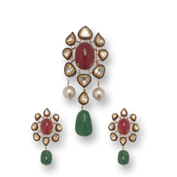 pendant with south sea pearls and kundans