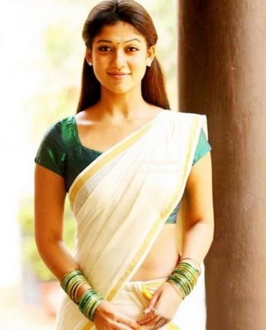 nayanatara in kerala kasavu sarees