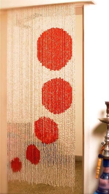 polka-red-white bead curtain