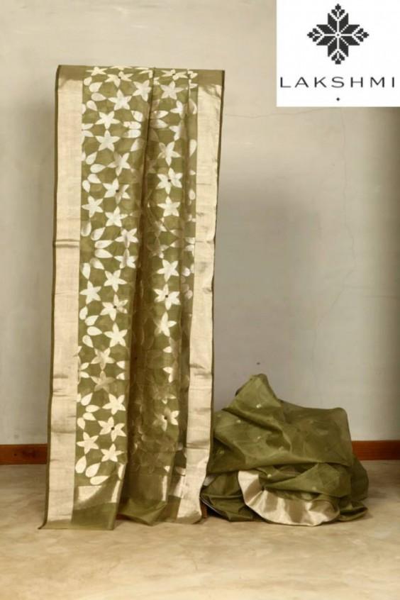 Olive Green Sari woven in the Chanderi region