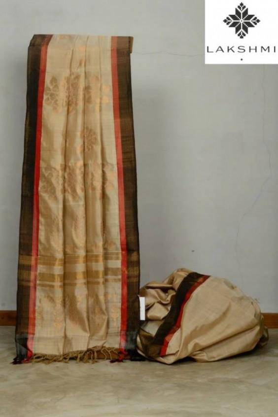 half white kanjivaram saree with grey border