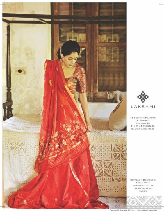 red embroidered saree by lakshmi
