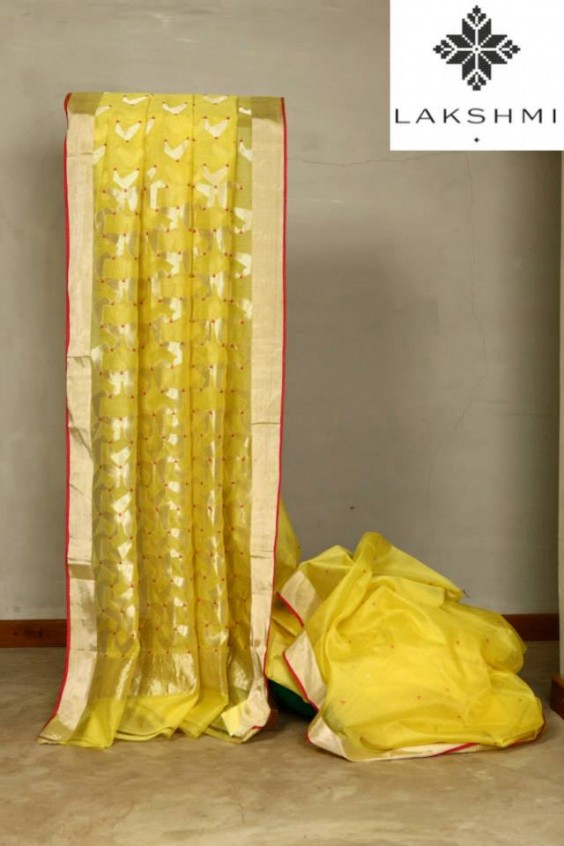 yellow banaras saree from lakshmi