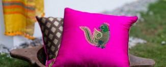 Silk Embroidered Cushions DruZari by Bhuvi Kilpady