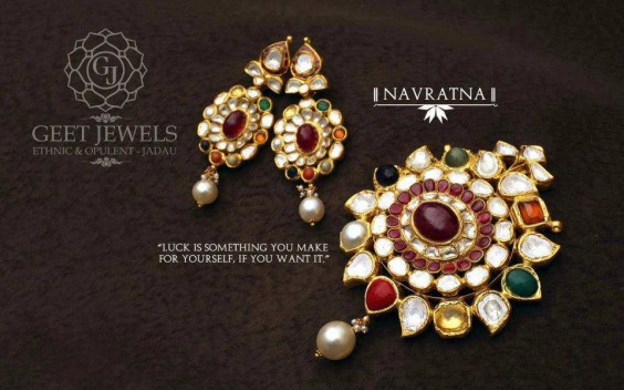 Geet Jewels has created this set for its Navratna Collection