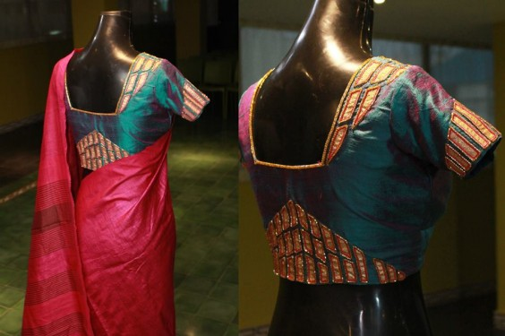 Geometric applique work on raw silk blouse.