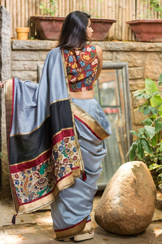 high neck sleeveless kalamkari blouse