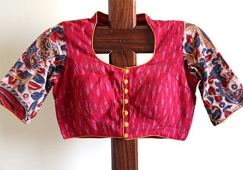 pot neck kalamkari blouse