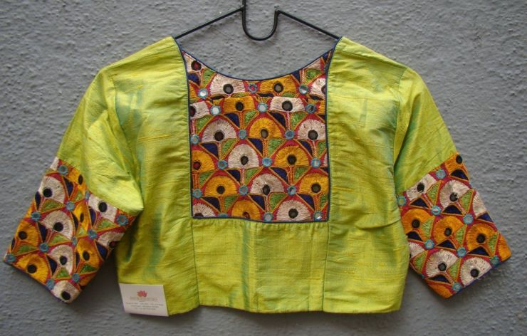 olive green kutch work blouses from houses of taamara