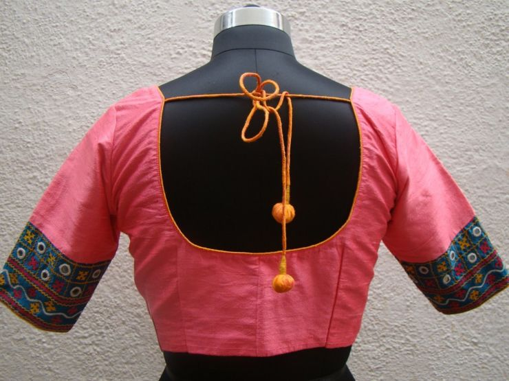 peach kutch work blouses from house of taamra