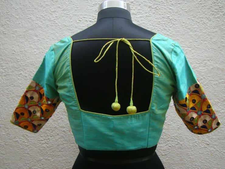 pista green kutch work blouses from house of taamara
