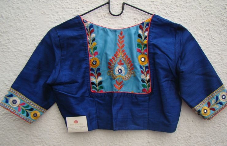 royal blue kutch work blouses from house of taamara