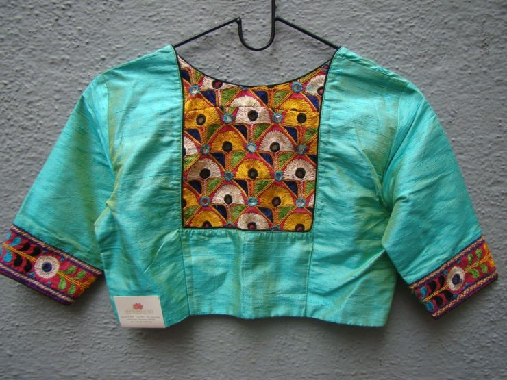 sea green kutch work blouses from house of taamara