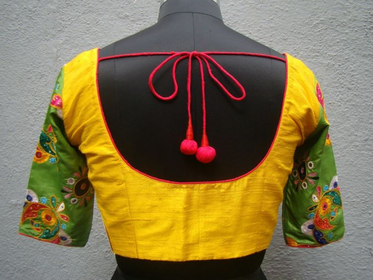 yellow kutch work blouses from house of taamara