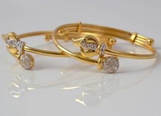 Gold Baby Bracelets studded with diamonds