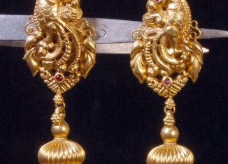 Ruby Emerald Uncut Gold Jhumkas