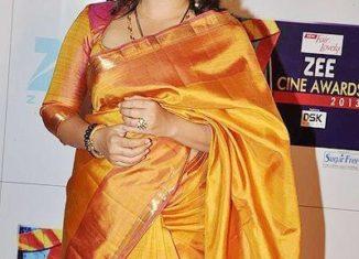 vidya balan mustard pink kanjivaram saree